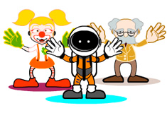 Three of the goalie characters from Beat the Keeper